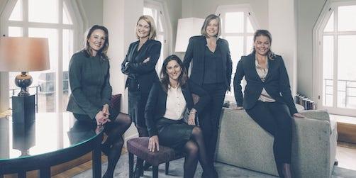 Från vänster: Charlotta Olsson, Helena Törnquist, Therese Andersson, Cecilia Wingård, Anna Blomqvist. Foto: Rickard L. Eriksson