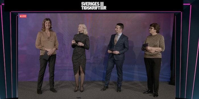 Sveriges Tidskrifters vd Kerstin Neld tillsammans med dagens programledare Camilla Björkman, James Savage och Helle Klein.