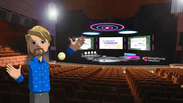 Folkbildarforum 27 april genomförs i VR-miljö och vi har, med hjälp av scenografen Alexander Ankarberg, skapat Konsert och Kongress lokaler virtuellt så att folk som deltar känner igen sig.