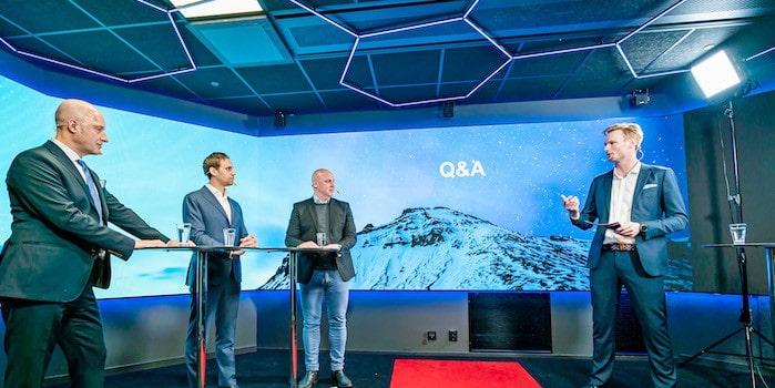 Panelen svarade pa fragor i livesandning Succé när DistIT valde att livestreama sin digitala kapitalmarknadsdag